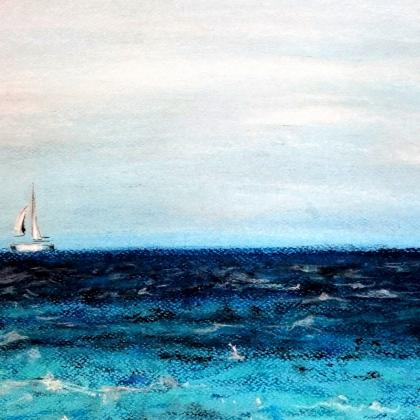 malba na světle modrý papír