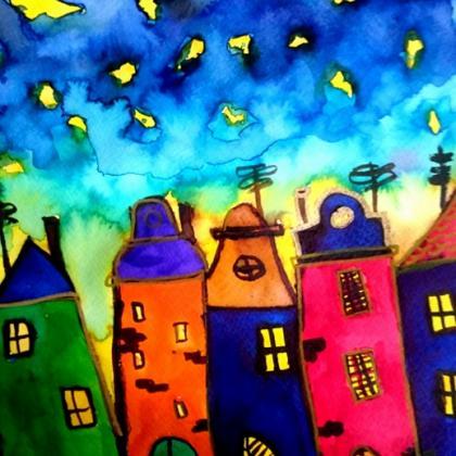 zářivé i barevné domečky